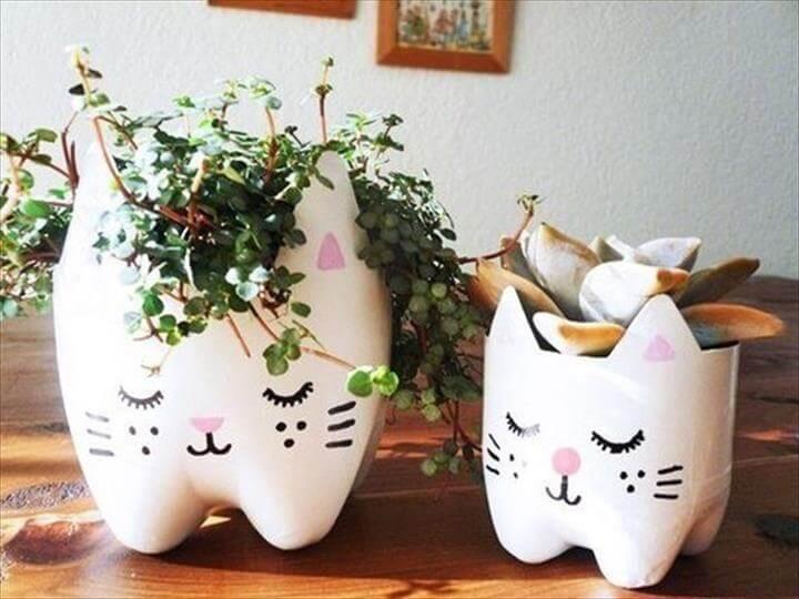 DIY Cutest Cat Planter from Plastic Bottles