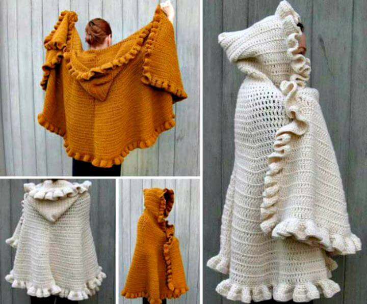 HOODED CAPE CROCHET, diy hooded pattern, diy crochet pattern, diy pattern ideas