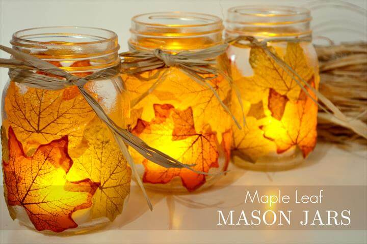 leaf mason jar candle holder from mason jar