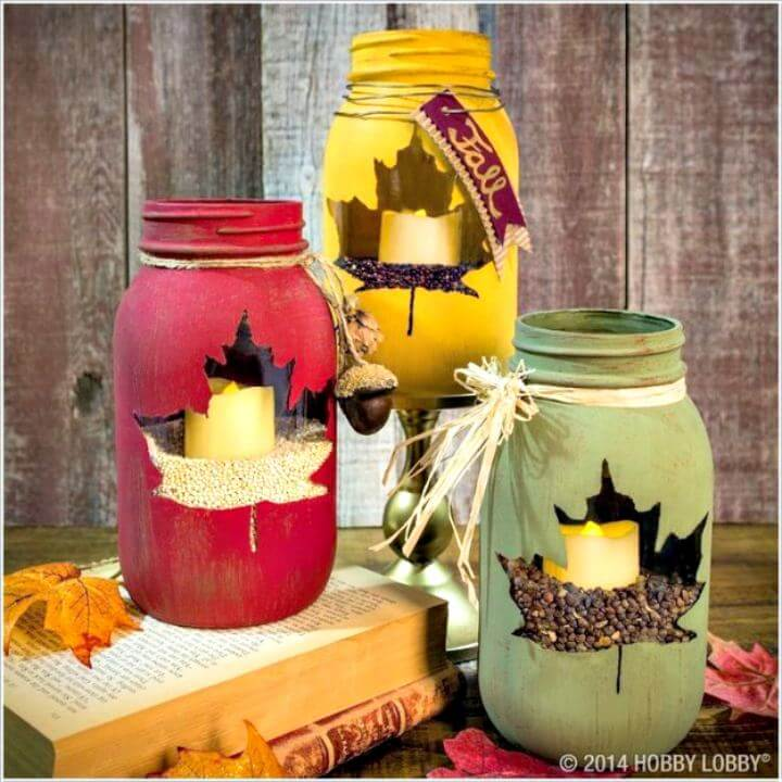 maple leaf mason jar, diy mason jar, diy crafts and projects, diy leaf