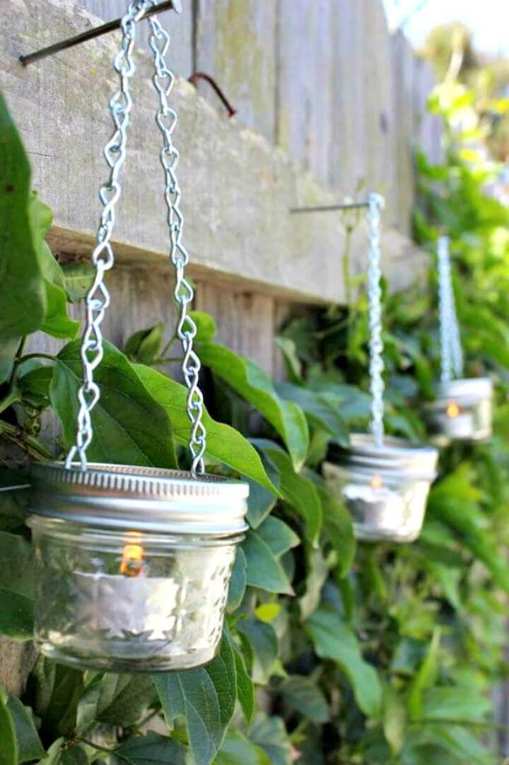 Hanging mason jar, garden mason jar, chain mason jar idea, lantern mason jar idea