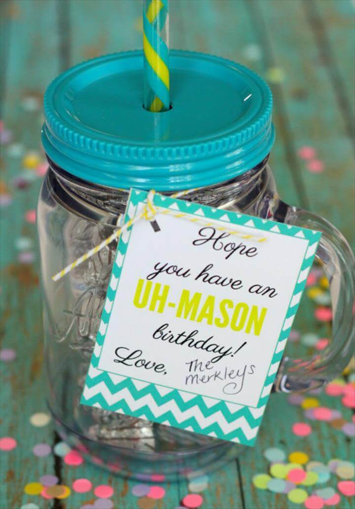 Uh-Mason Gift Idea - LOVE this! With free printable tags.