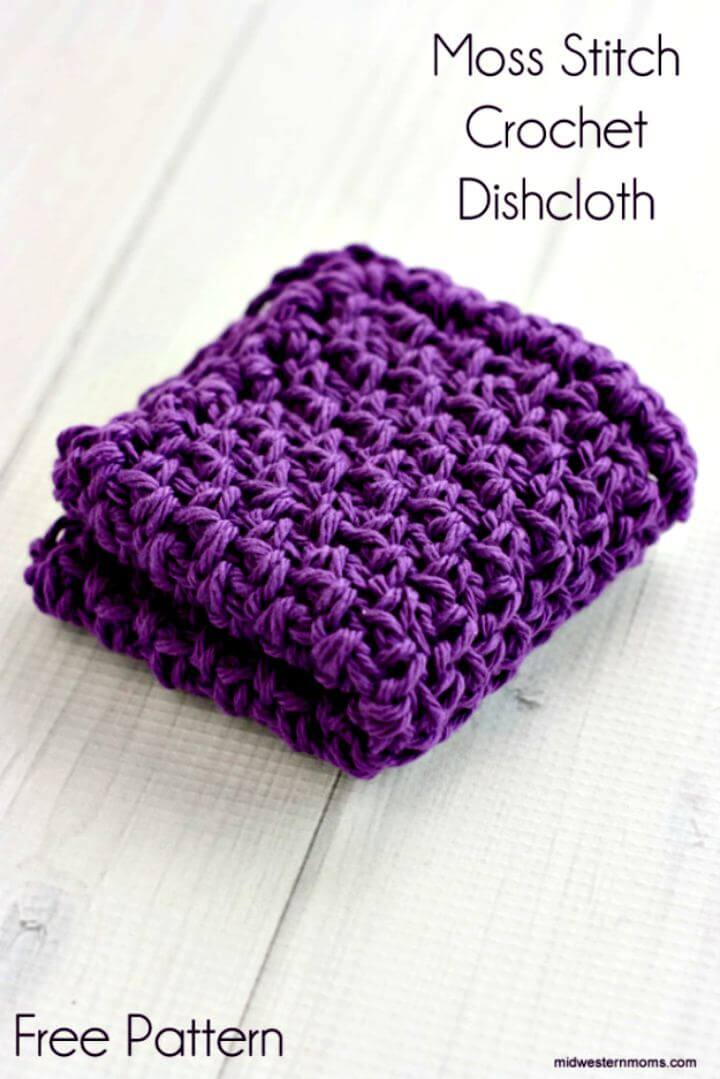 DIY moss stitch crochet, diy dishcloth crochet, diy projects, diy crochet pattern