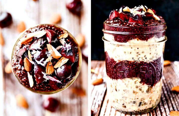 Cherry Chia Jam Overnight Oats, diy crafts, diy projects, diy oats jar,