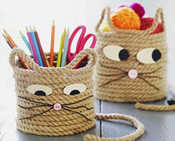 cute cat craft basket pen holder
