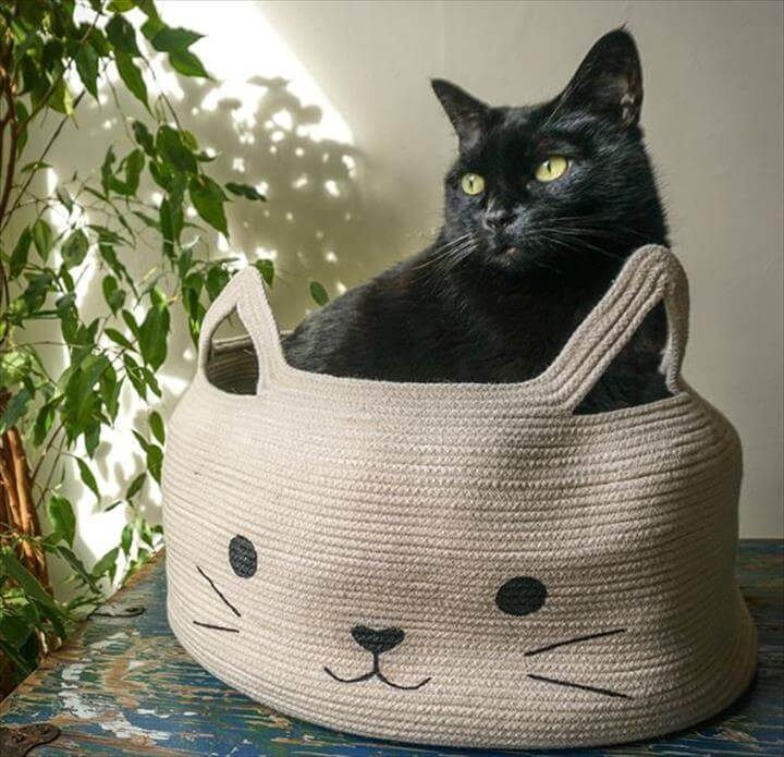 DIY Ideas With Cats - Rope Bowl Cat Bed - Cute and Easy DIY Projects for