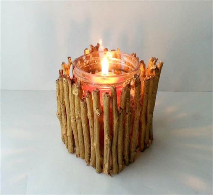 A twig candle holder is a super easy DIY project