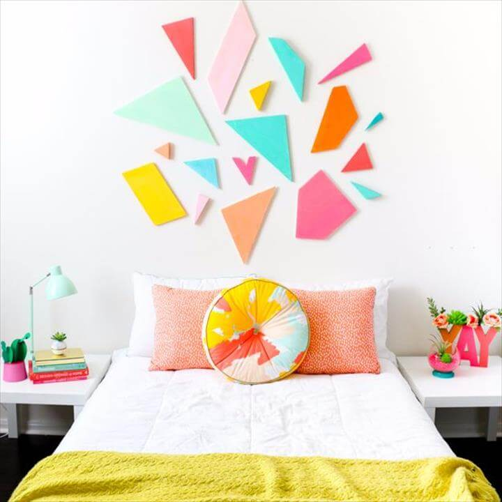 Best DIY Room Decor Ideas for Teens and Teenagers - Colorful Geometric Headboard - Best Cool