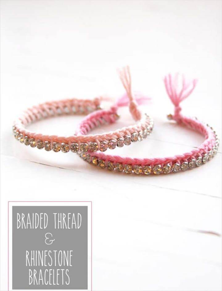 DIY Bracelets - DIY Braided Thread & Rhinestone Bracelet - Cool Jewelry Making Tutorials for Making