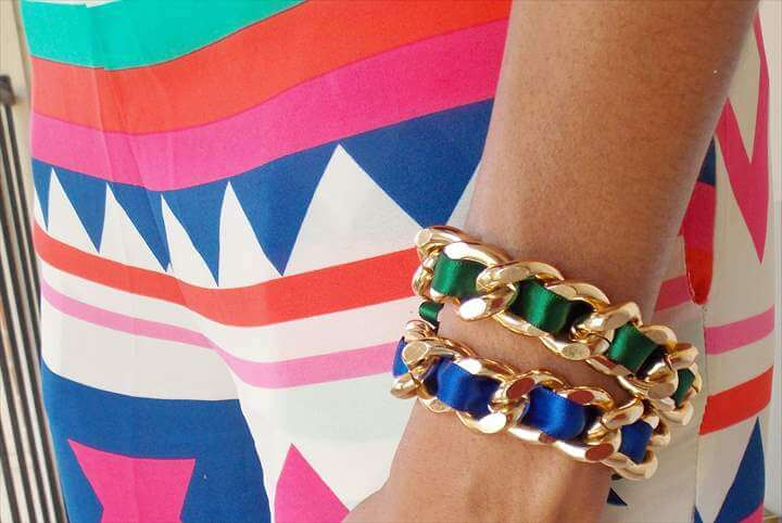 DIY: Ribbon wrapped chain bracelet