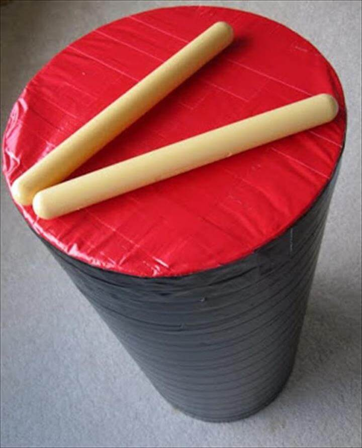 handcrafted duct tape drum