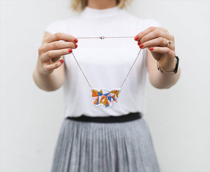 diy embroidered geometric necklace