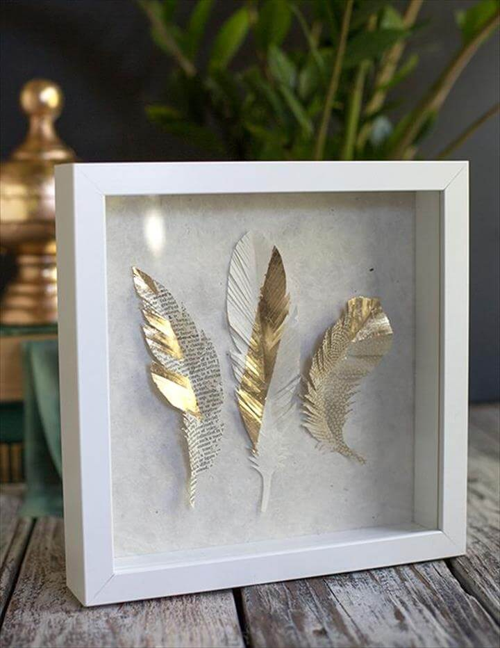 DIY Paper Feathers in Gold