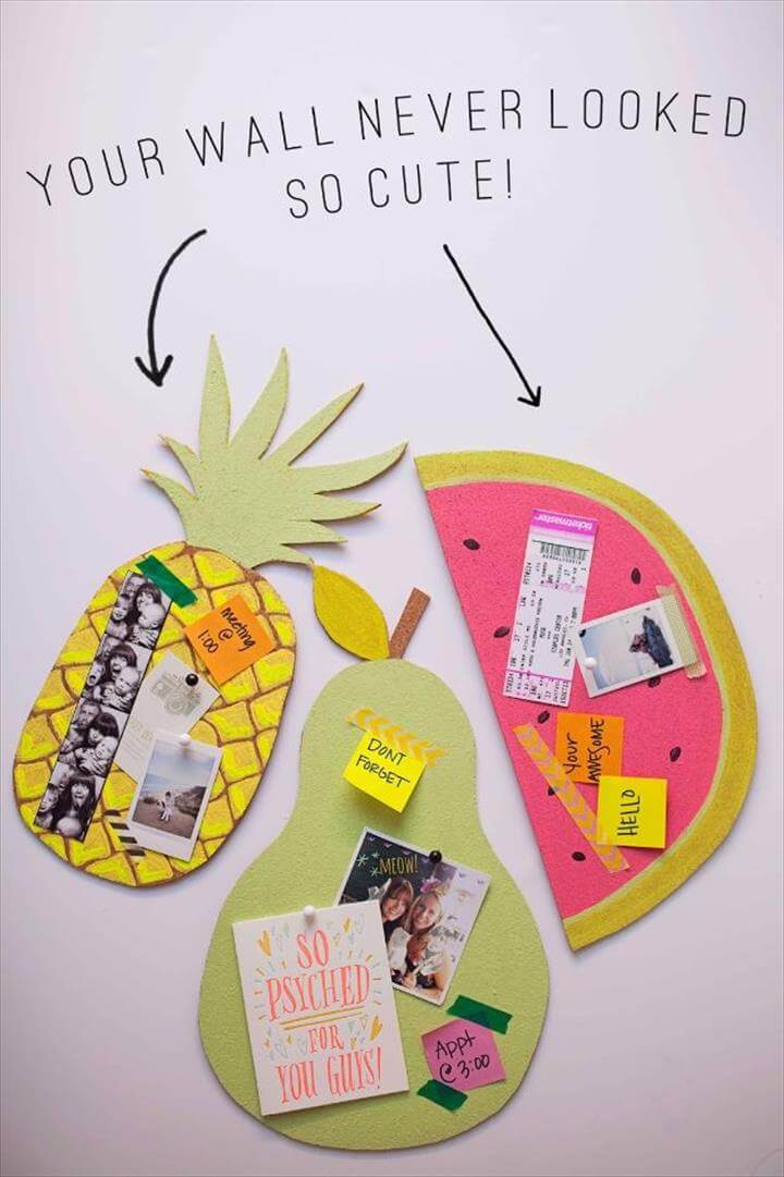 Best DIY Room Decor Ideas for Teens and Teenagers - DIY Fruit Bulletin Boards - Best