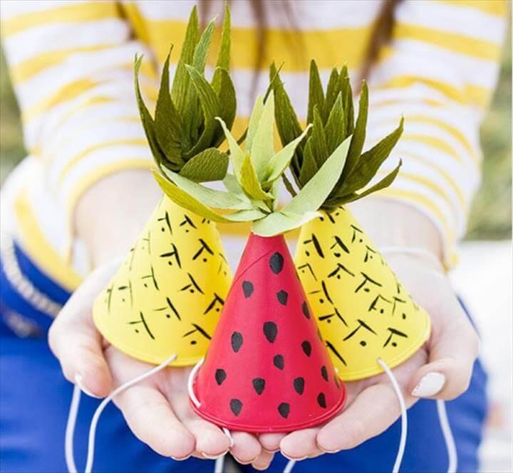 Fun tutti frutti party hat tutorial