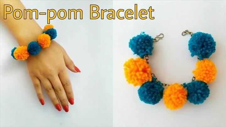 Pom-Pom Bracelet - Wool Bracelet -