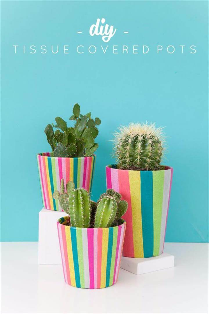 DIY Tissue Paper Covered Pots