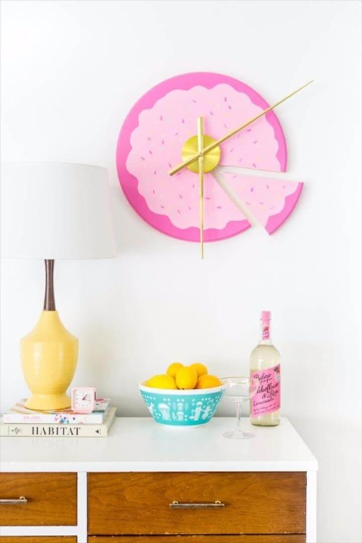 Best DIY Room Decor Ideas for Teens and Teenagers - DIY Sliced Cake Wall Clock -