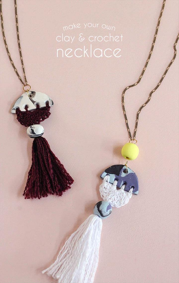 make your own modern tassel DIY necklace using clay and crochet - love the idea of
