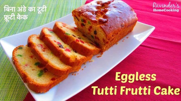 Eggless Tutti Frutti Cake, Kids Favorite Cake Recipe
