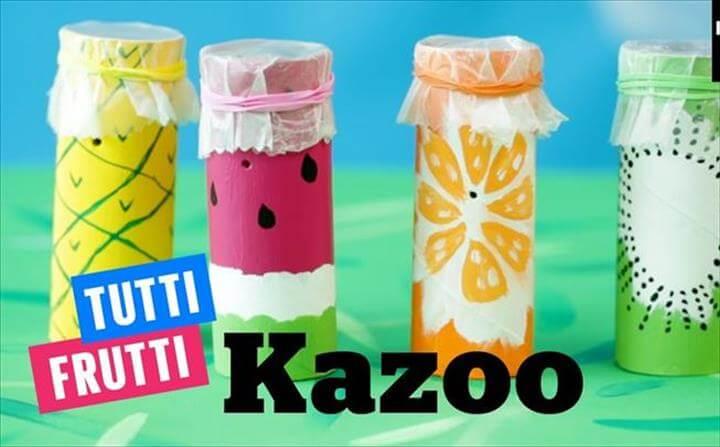 tutti frutti kazoo out of a toilet paper roll