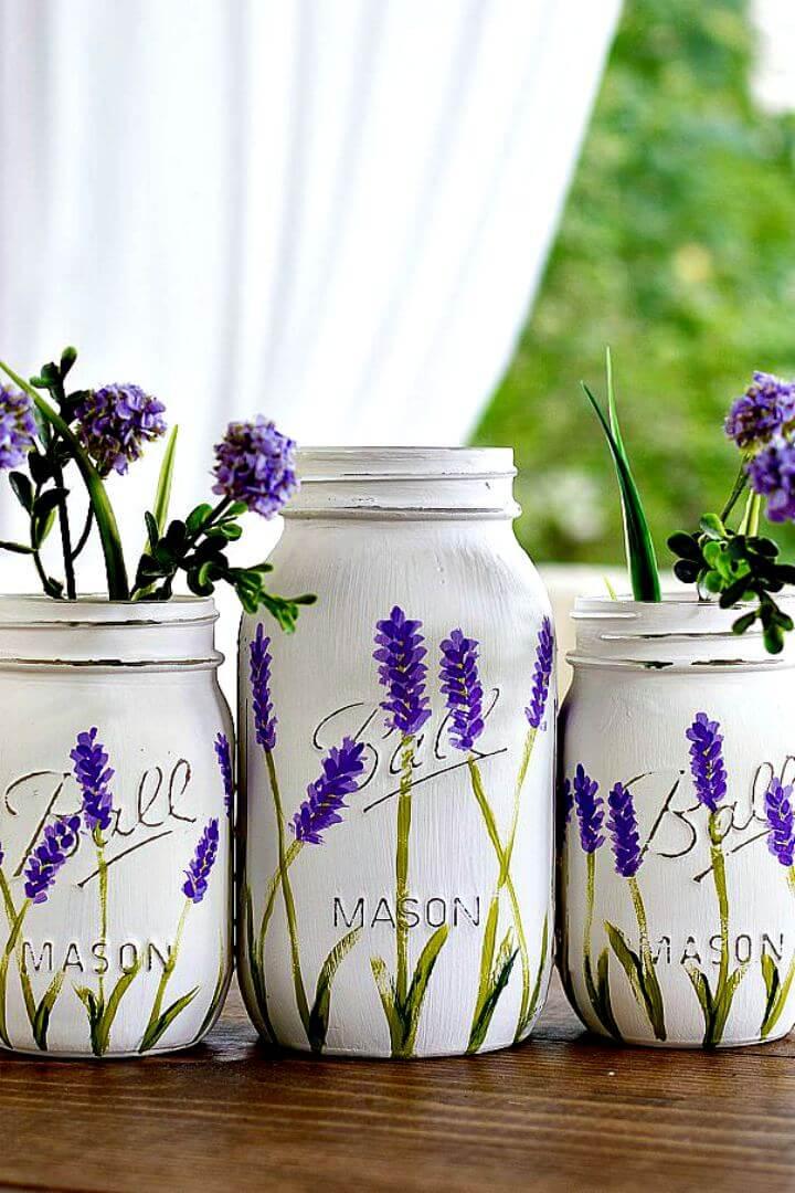 lavender mason jars, diy painted mason jar, diy creative mason jar