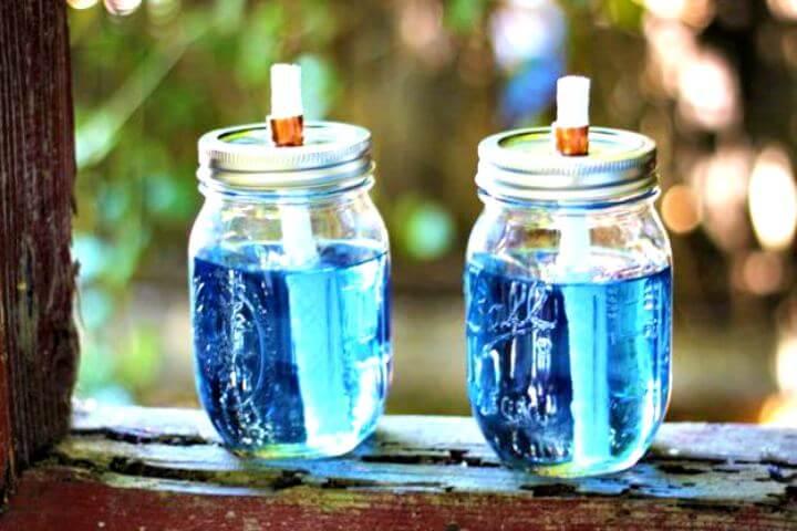 Lighting water mason jar, mason jar citronella torches, diy water mason jar