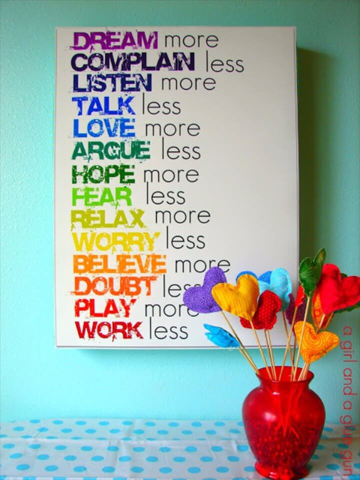 DIY Room Decor for Girls - Rainbow Text Wall Art - Awesome Do It Yourself