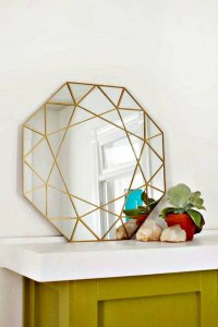 gem mirror room decor, home decor mirror, diy wall decor, diy mirror hanging idea