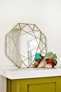gem mirror room decor, home decor mirror, diy wall decor, diy mirror hanging idea