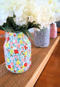 flowers mason jar, diy mason jar, doted mason jar