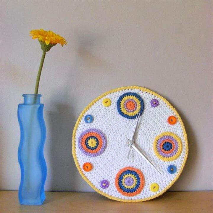 crochet pattern, diy clock pattern, diy crafts idea, diy clock decor