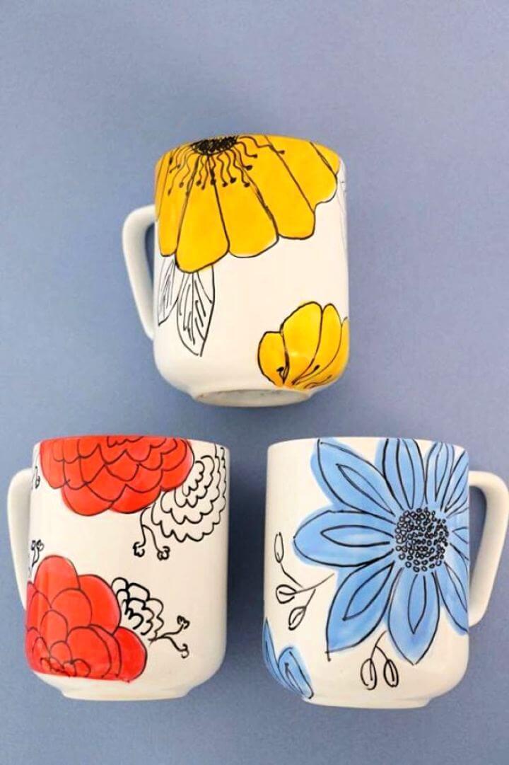 diy coffee mug ideas, coffee mug projects, glitter coffee mug
