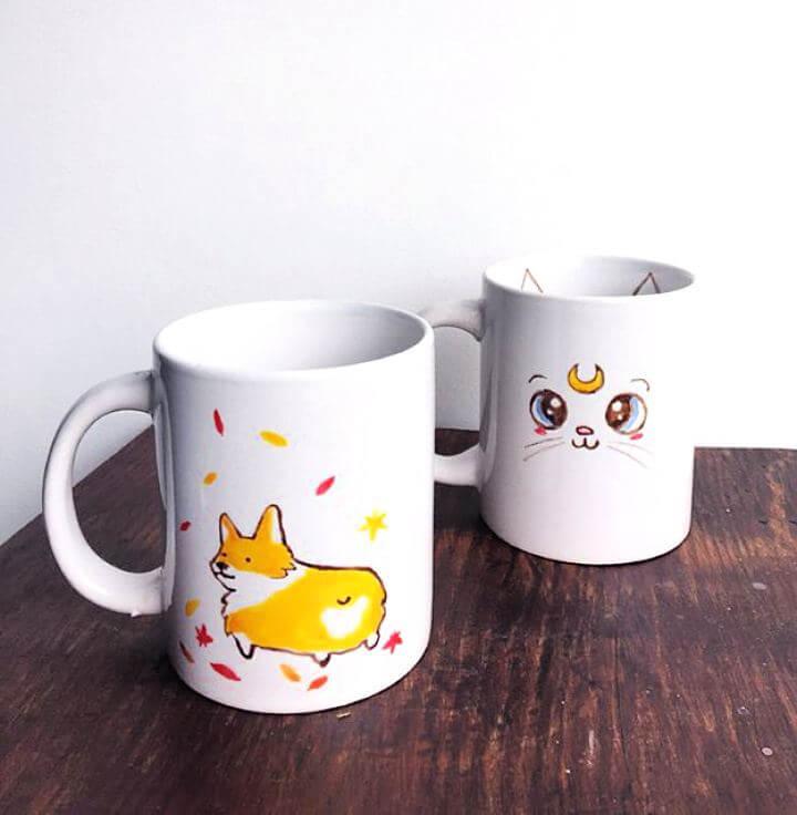glitter mug ideas, diy mug ideas, handmade mug ideas, painted mug ideas