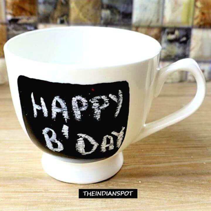 chalkboard mug, diy mug, painted mug, birthday mug