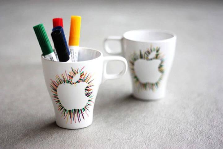 apple mug idea, diy idea, pencil holder mug,