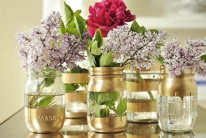 gold mason jar, vases mason jar, flowers mason jar