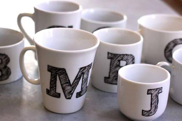 mono gram mug, diy mug, diy mono gram, spelling mug ideas