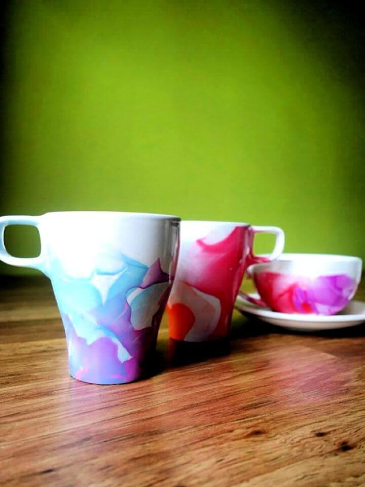 nail polish mug idea, painted mug idea, glitter polish idea