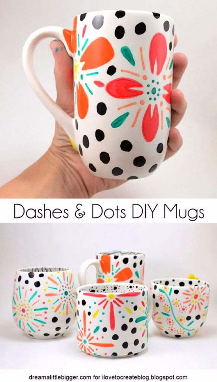 dashes mug ideas, dots mug ideas,coffee mug ideas