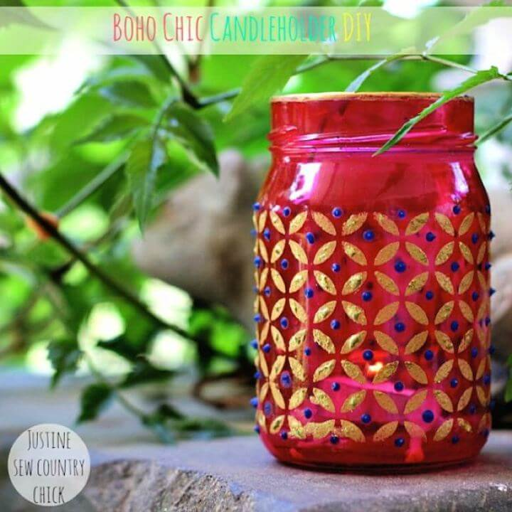 easy boho jar, chic mason jar, candle mason jar,