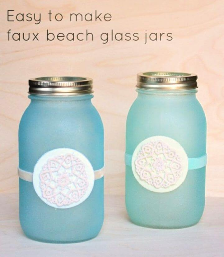 faux beach jar, glass mason jar, easy to make, diy mason jar,