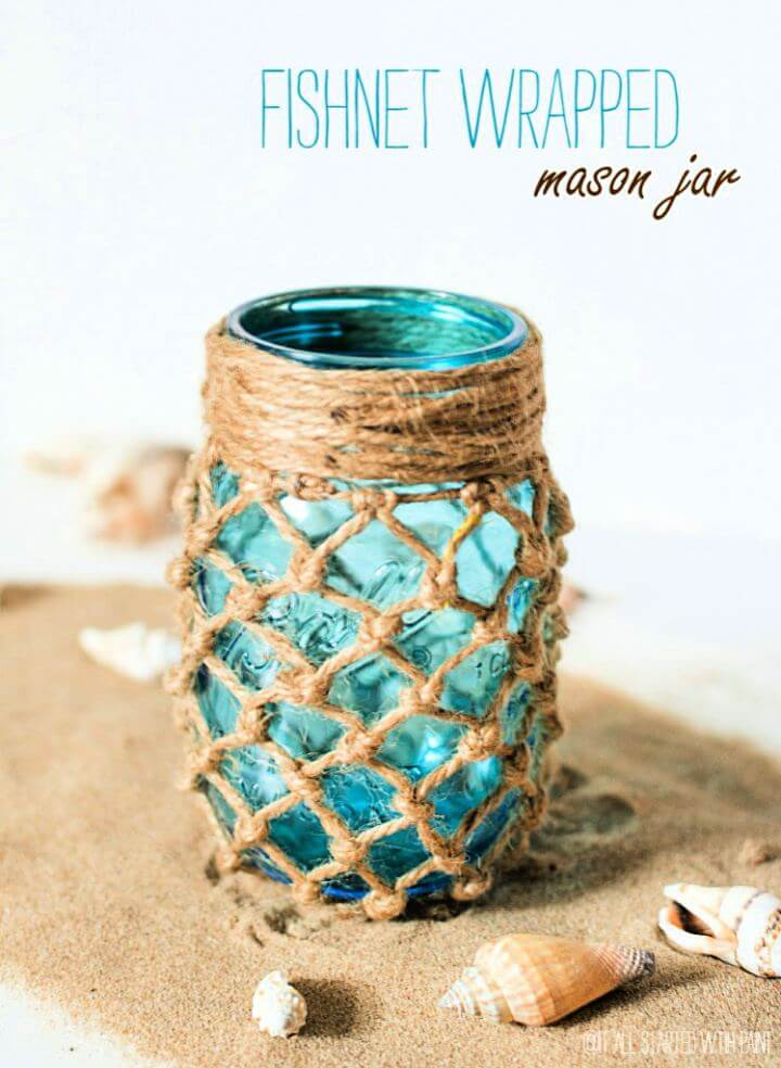 fishnet wrapped jar, how to make, storage mason jar,