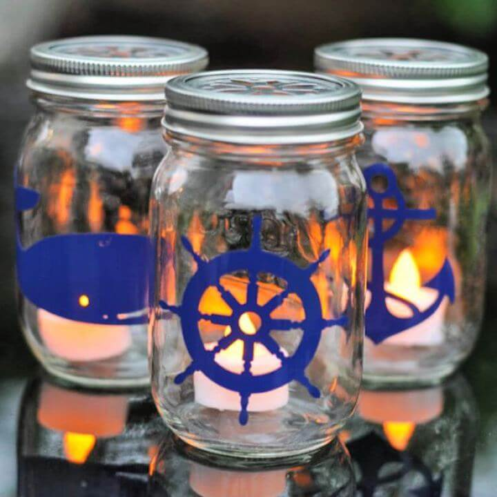 nautical mason jar, lantern jar, mason jar tutorial, easy to make jar,