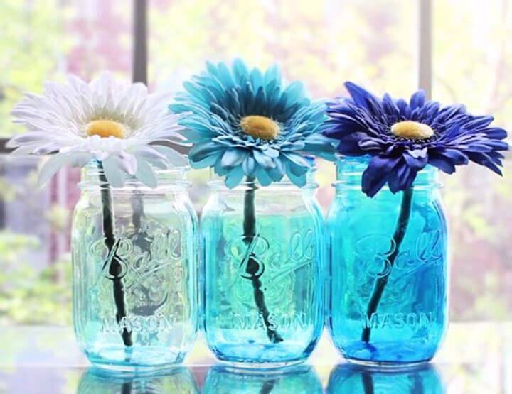 omber mason jar, flower mason jar, diy projects, summer mason jar, water mason jar