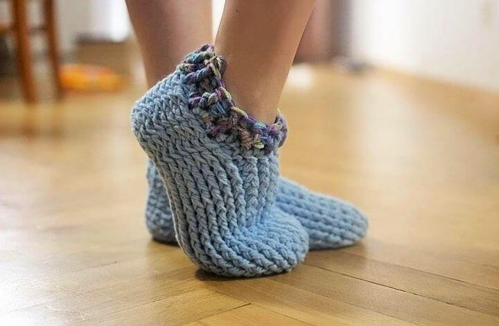 diy slippers, adult chunky, free slippers, diy crafts, diy projects