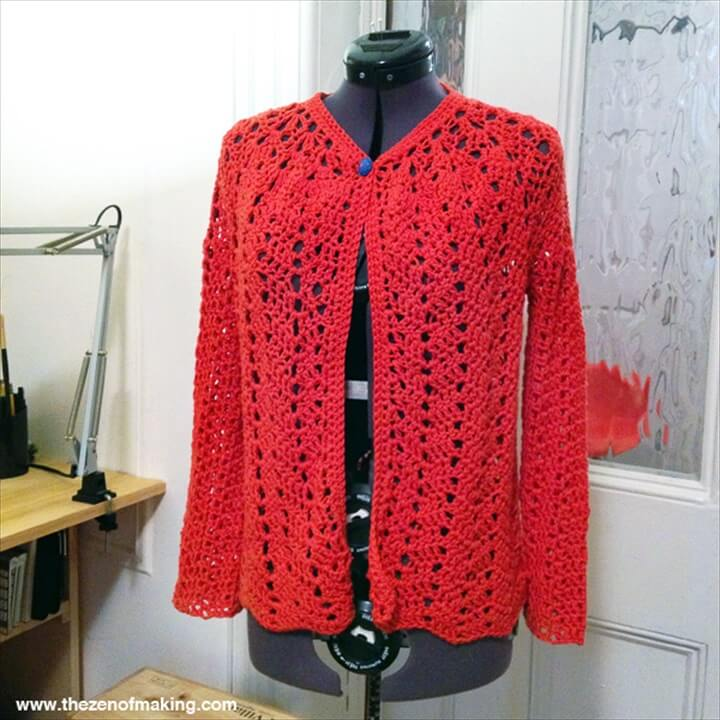 red lace cardigan, red sweater, diy crafts, projects, chevron lace