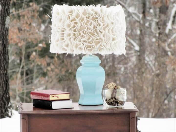 cozy ruffle, diy ruffle lampshade, lampshade for home, how to, easy to