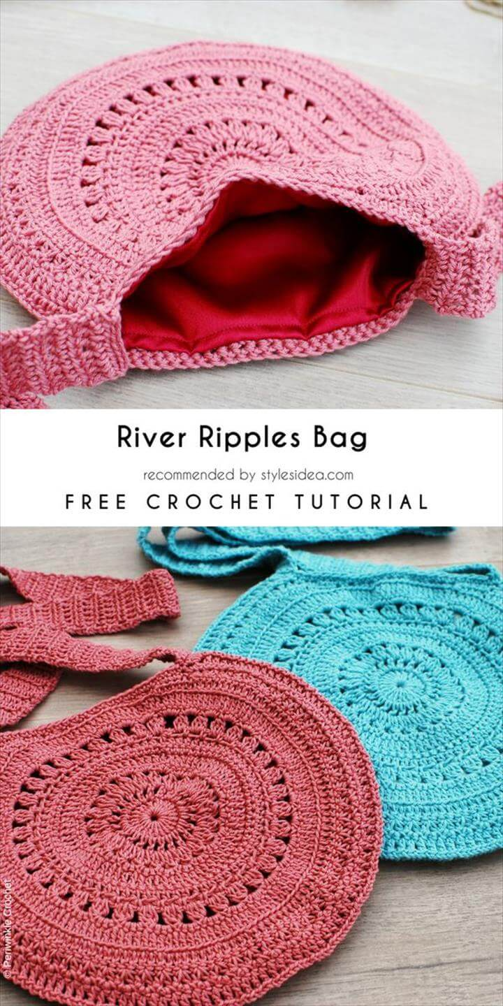Crochet Patterns Bag River Ripples Bag Fre Crochet Pattern - Crafts Ideas