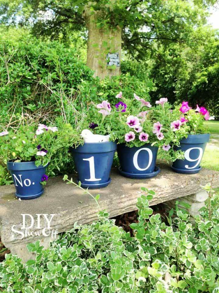 garden decor, diy garden, house number, garden idea, garden crafts